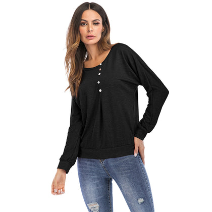 Solid Color Round Neck Long Sleeve T-shirt for Women