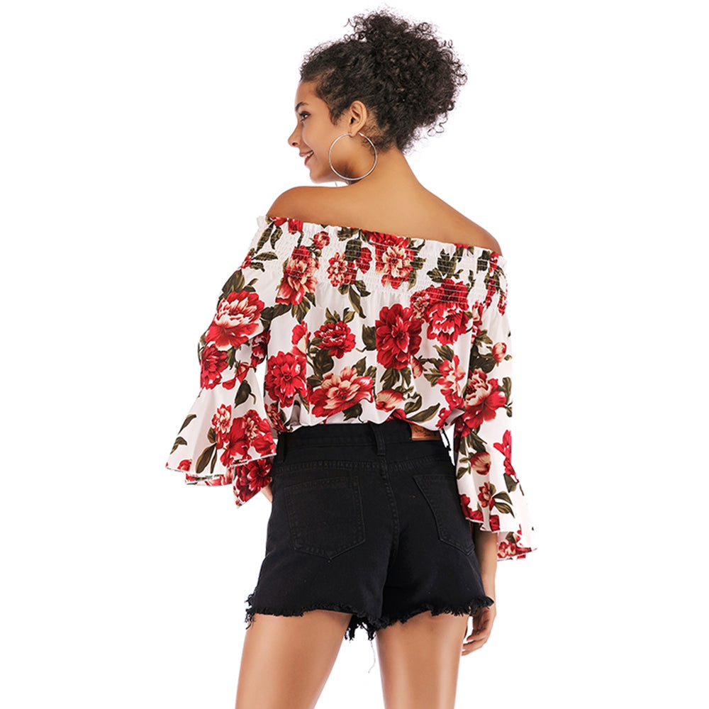 Printed Off-shoulder Flare Sleeve Top for Women