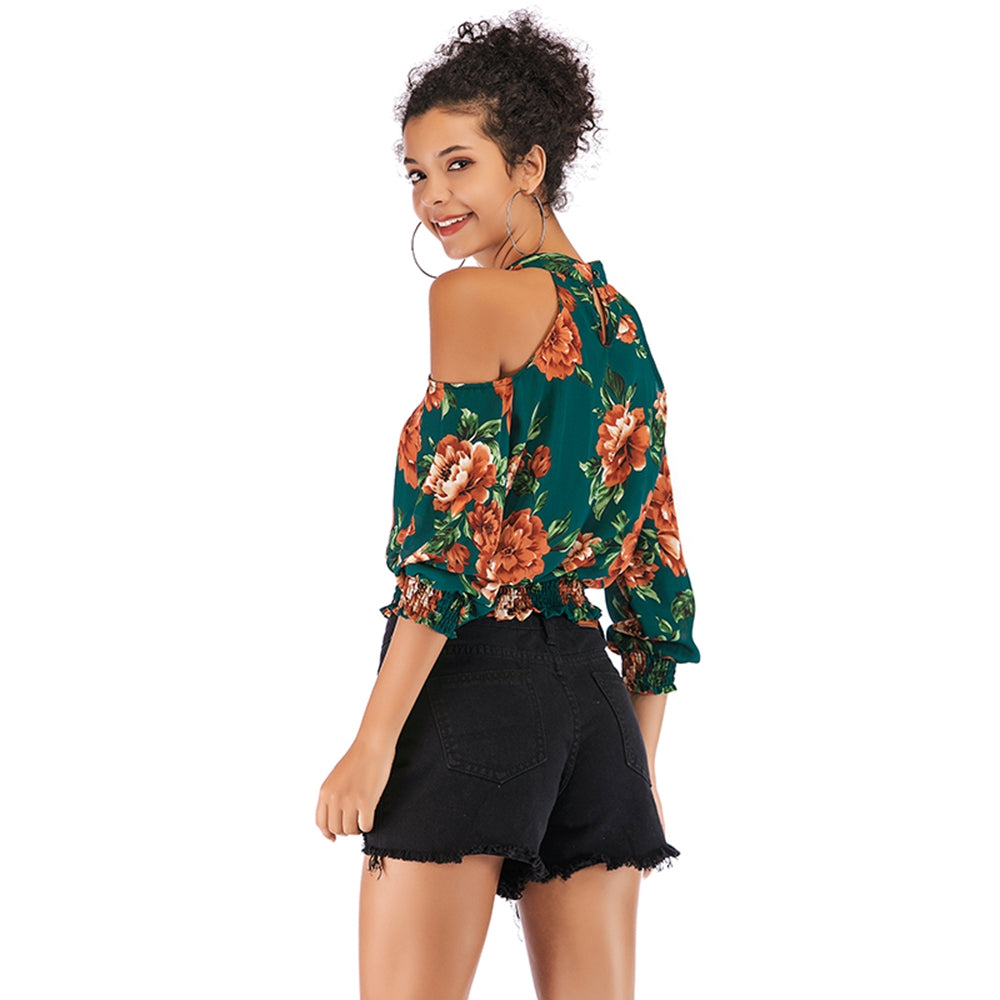 Printed Off-shoulder Top T-shirt for Women