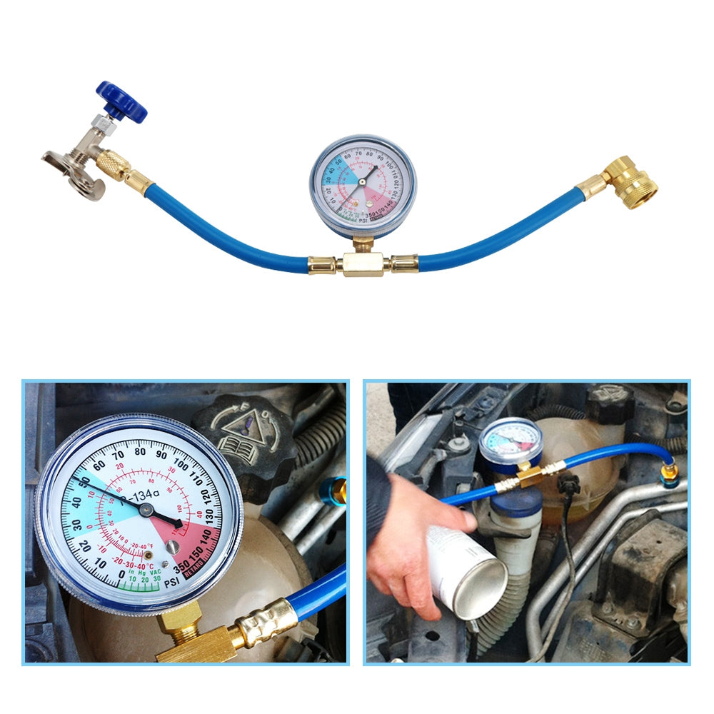 R134A Car Air Conditioning Recharge Measuring Hose Gauge Refrigerant Pipe with Opener