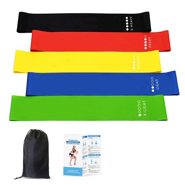 Sport Yoga Resistance Bands Natural Latex Fitness Elastic Tension Band Strength Training Yoga Loops Health Exercise Pull Strap Belt 5pcs