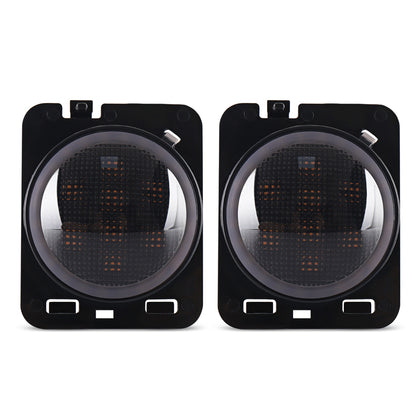 One Pair of Headlights Car Front LED Turn Signal Blinker Amber Light White Halo for Jeep Wrangler