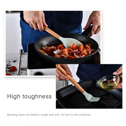 1PC Household Silicone Wooden Cooking Utensil Kitchenware
