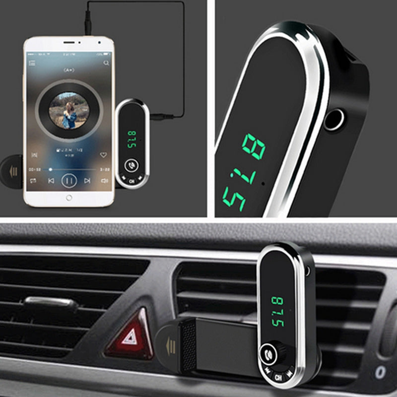 CF1 Hands-free Phone Bluetooth FM Car Charger Wireless Player Car Holder