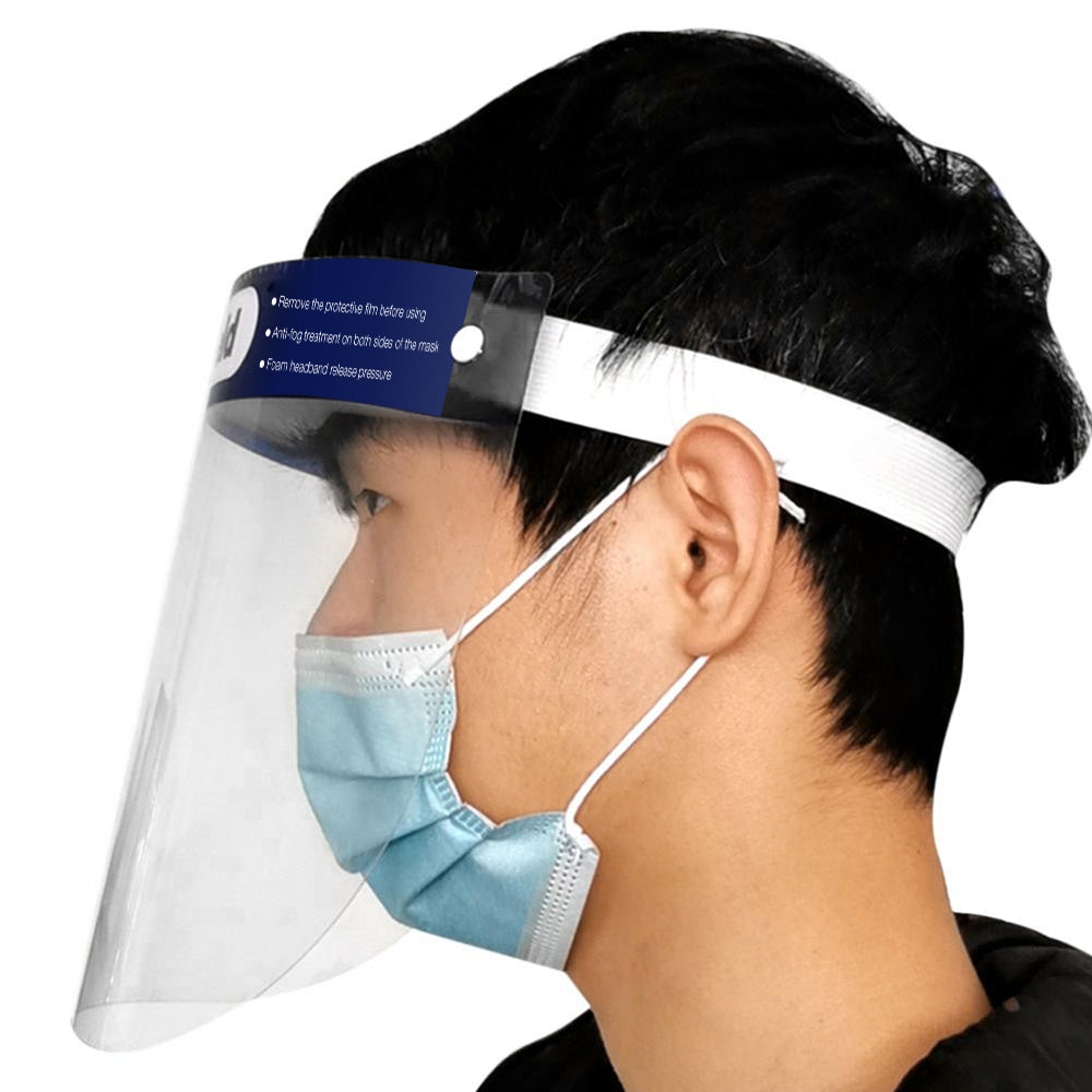 5PCS HD Transparent Face Shield Soft Latex Foam Elastic Headband Protection for Spit Dust Fog Pollen