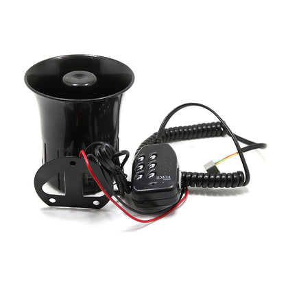 DC 12V Six-tone Megaphone Speaker 110dB Vehicle Horn Adjustable Volume