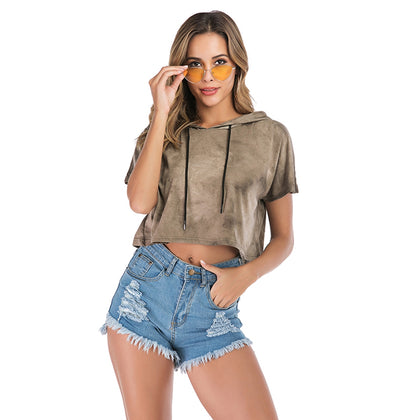 Hooded Short Sleeve Crop Top for Women