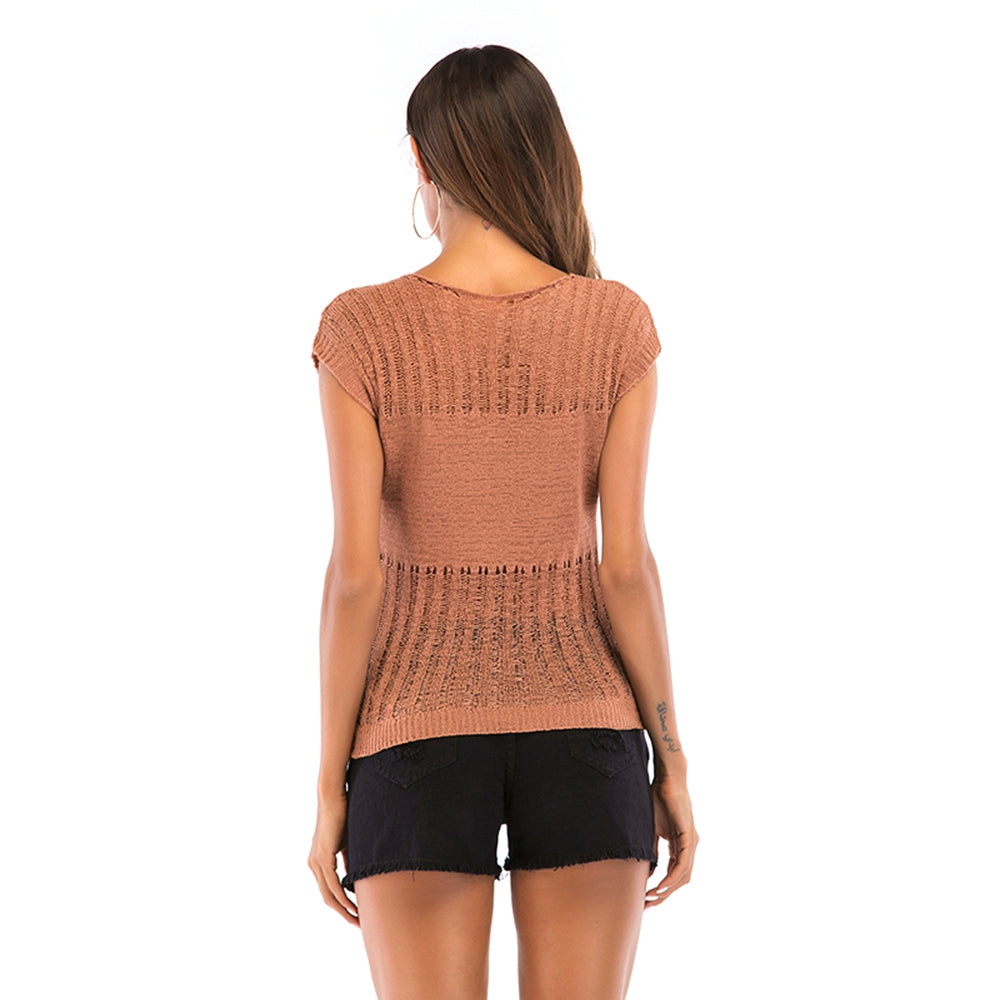 Solid Color Short-sleeved Knitted T-shirt for Women