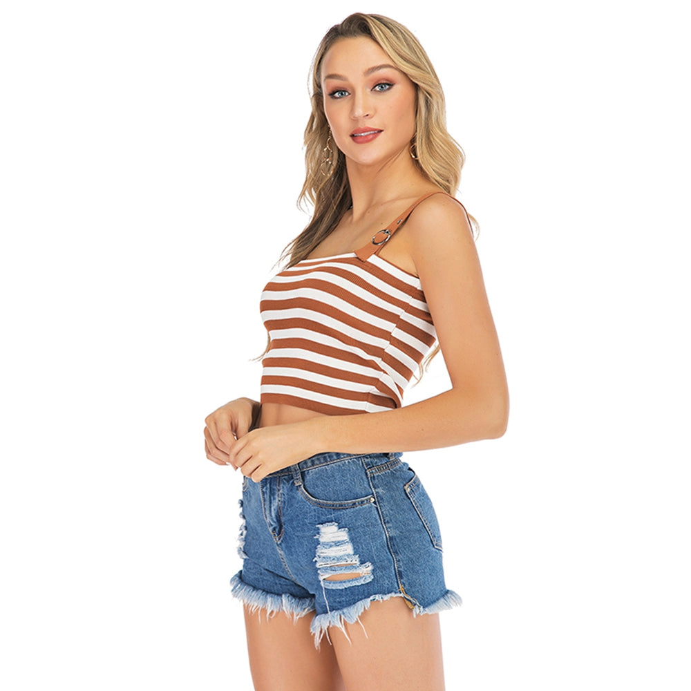 Striped Crop Top Vest with Adjustable Straps