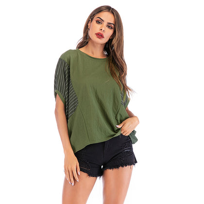 Round Neck Loose Bat Sleeves T-shirt