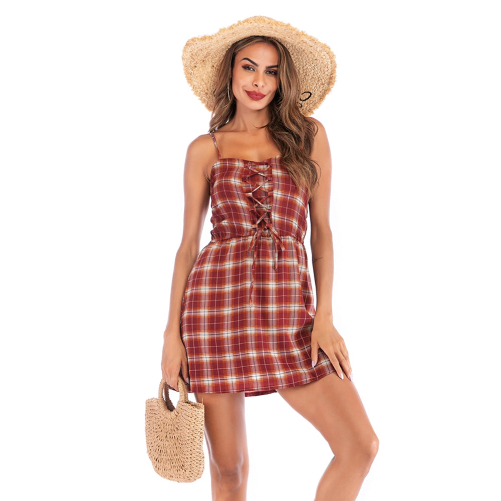 Plaid Dress Lace-up Design Backless Adjustable Straps