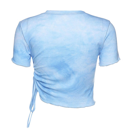 Tie Dyed T-shirt Round Collar Pleated Sexy Crop Top for Women