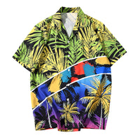 Summer Beach Casual Shirt Fashionable Coconut Tree Print Short Sleeve Turn-down Collar for Men