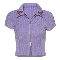 Fashion Turn-down Collar Short Top Butterfly Embroidery Zipper Cardigan T-shirt