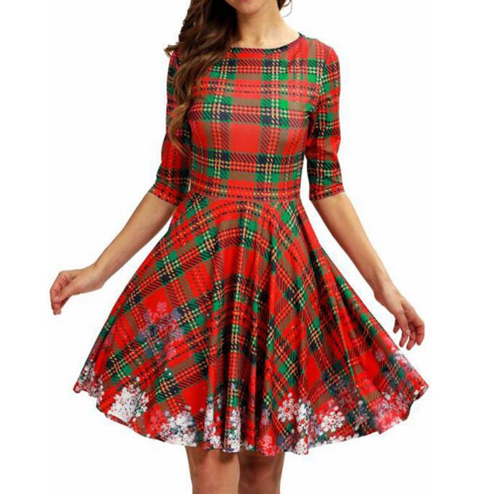 Plaid Snowflake Christmas Round Neck Dress
