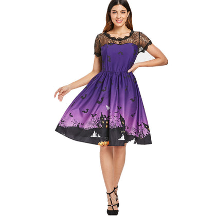 Halloween Lace Panel Pumpkin Print  Mid-length Dress