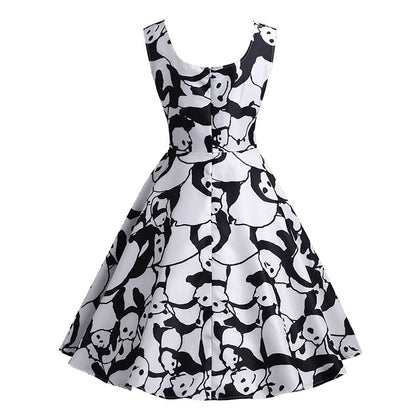 Panda Print A Line Casual Dress