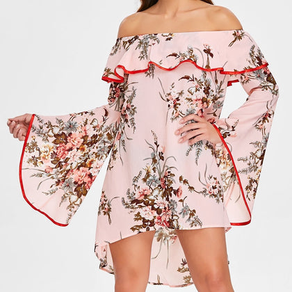 Off The Shoulder Ruffled Floral Dress