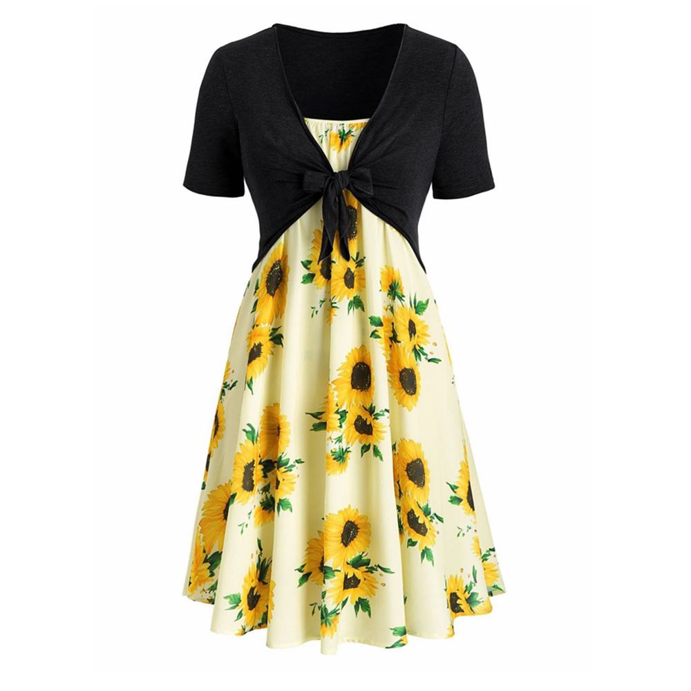 Knotted Top and Sunflower Overlap Dress Set