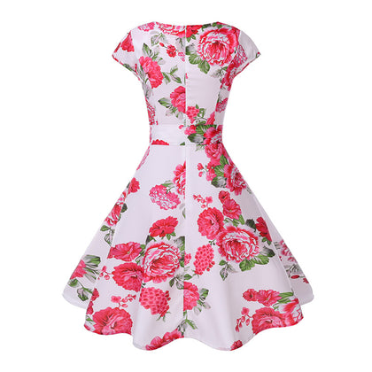 Boat Neck Cap Sleeve Floral Print A-line Zipper Women Dress