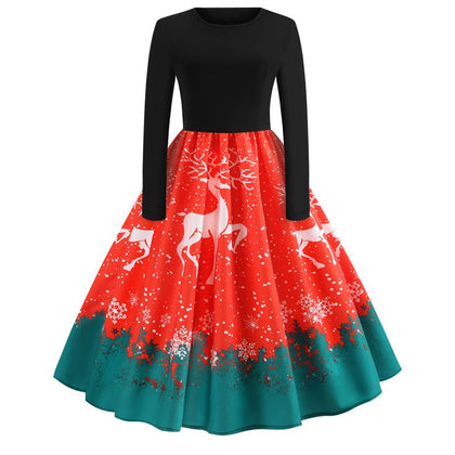 Santa Claus and Elk Print Vintage Dress