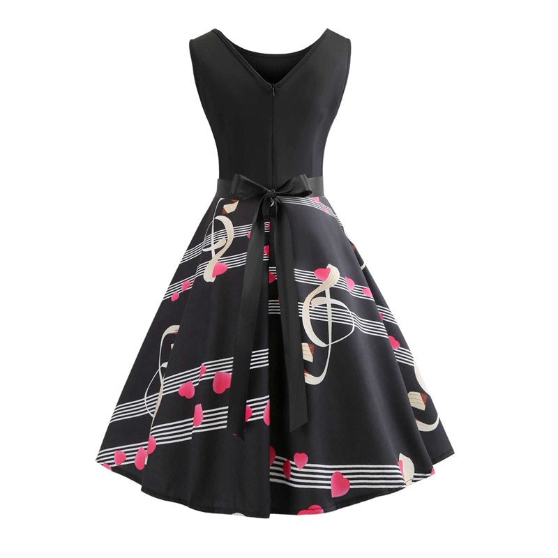 Music Print Sleeveless A Line Dress