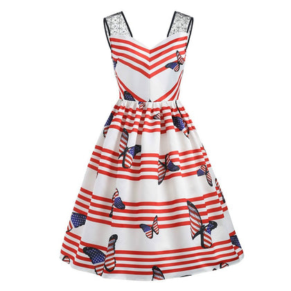 American Flag Butterfly Print Flare Dress
