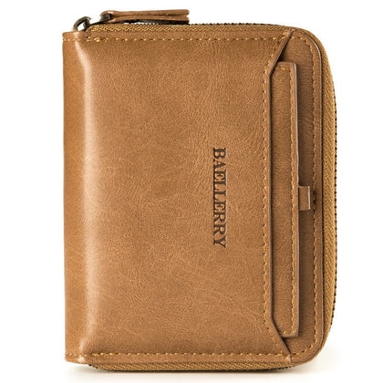 Baellerry New Men Wallet Short Section Soft PU Leisure Folder Bag