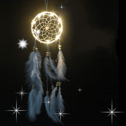 Handmade LED Light Christmas Snowflake and Feather Dream Catcher