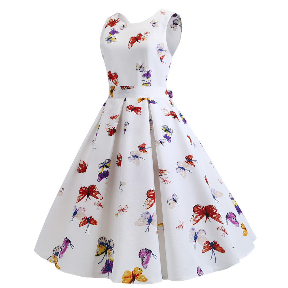 Women Vintage Butterfly Print Dress Round Neck Sleeveless Swing Floral Party Prom  Dress