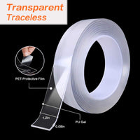 5M Double Sided Tape Heavy Duty, Nano Washable Traceless Removable Mounting Tape