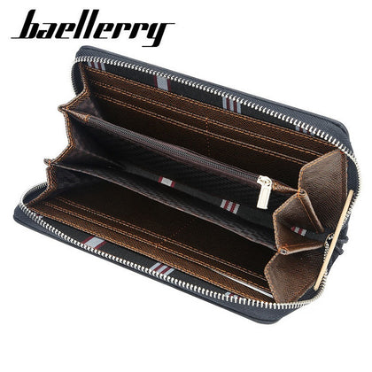 Baellerry New Patchwork Canvas Portable Clutch Wallet for Men