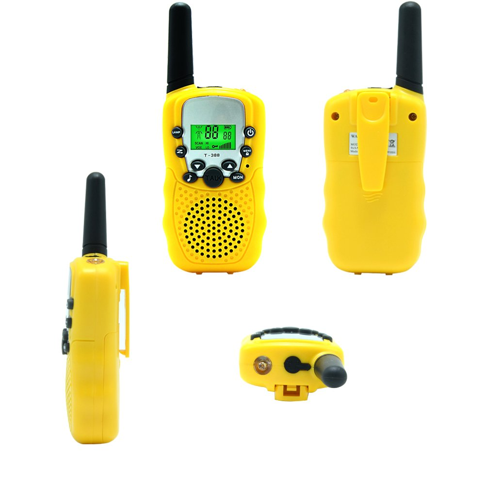 2PCS T-388 Kids Walkie Talkie Travel Handheld Kids Portable 3 Miles Range 22 Channels