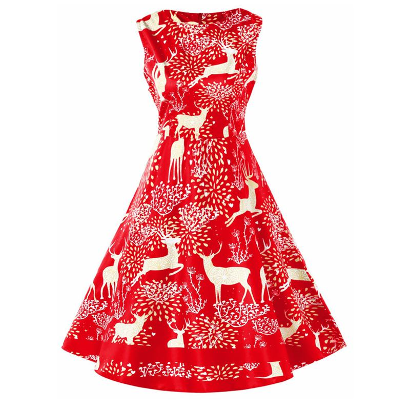 Vintage Christmas Elk Print Pin Up Dress