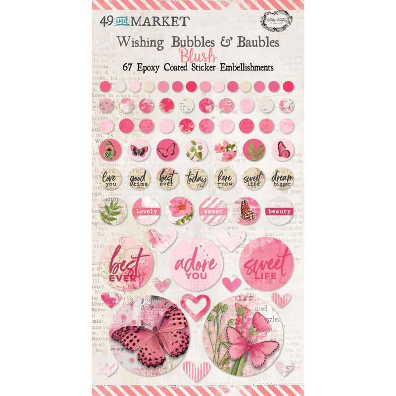 *Reserve*  Vintage Artistry Blush Wishing Bubbles & Baubles Stickers