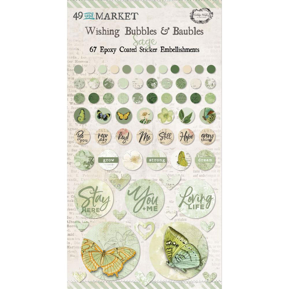 *Reserve*  Vintage Artistry Sage Wishing Bubbles & Baubles Stickers