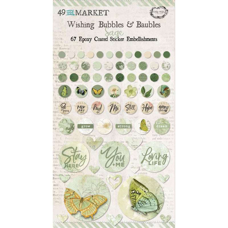 Vintage Artistry Sage Wishing Bubbles & Baubles Stickers