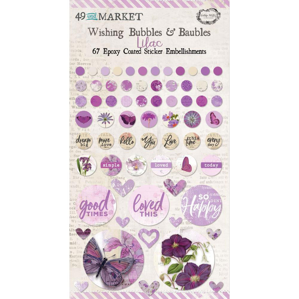 *Reserve*  Vintage Artistry Lilac Wishing Bubbles & Baubles Stickers