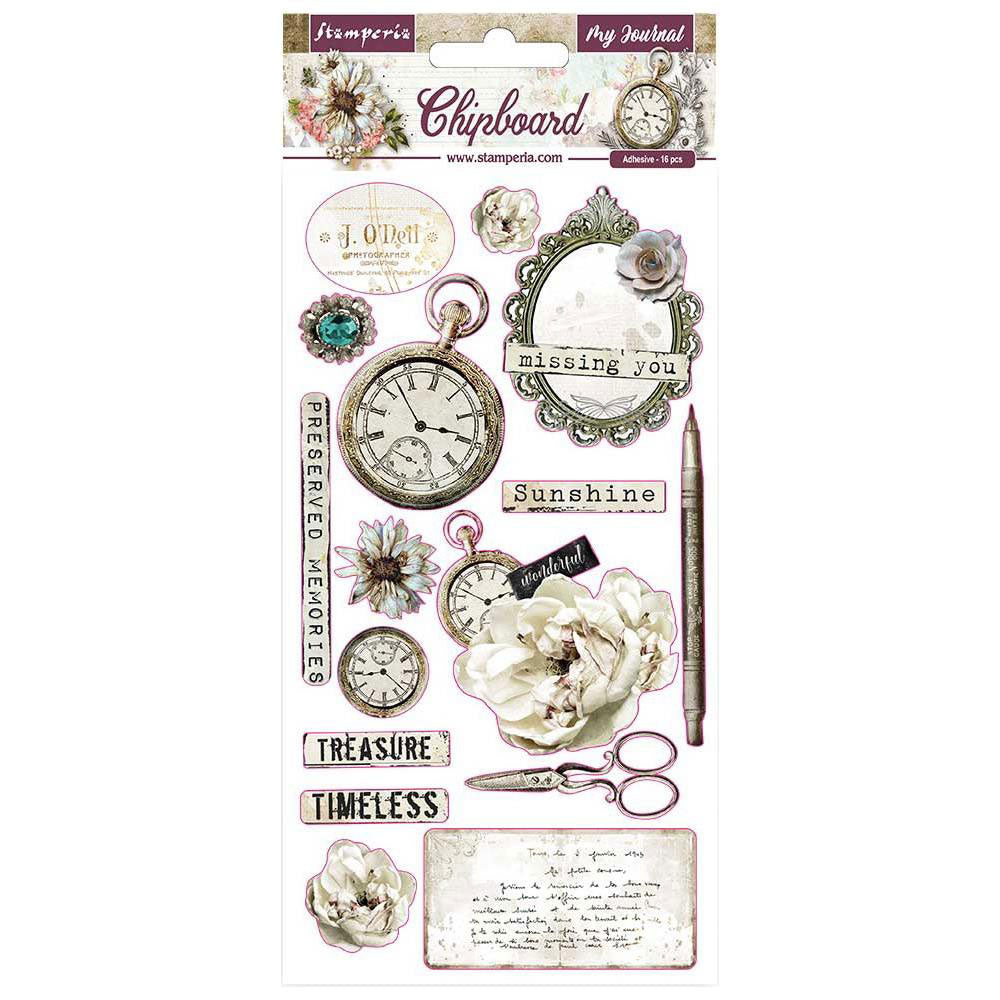 Stamperia Romantic Journal 6x12 Chipboard Stickers