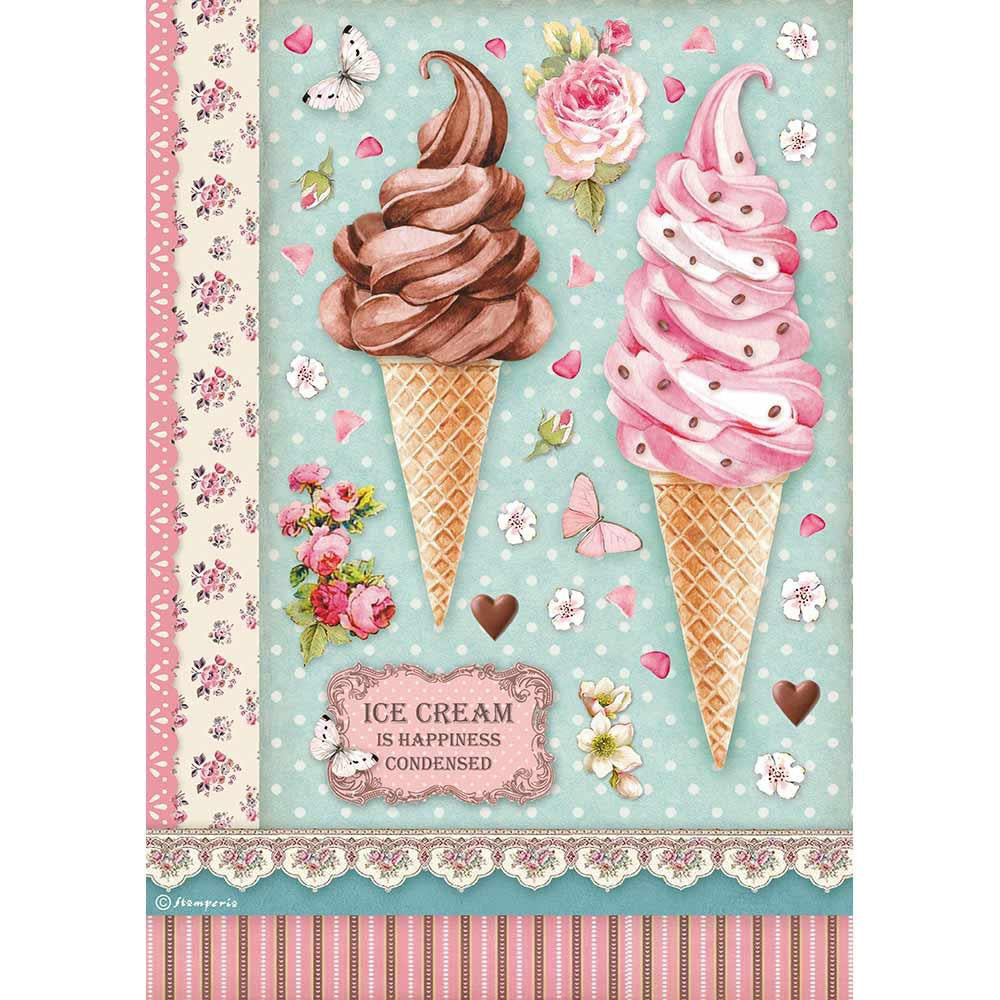 Stamperia A4 Decoupage Rice Paper - Sweets Ice Cream