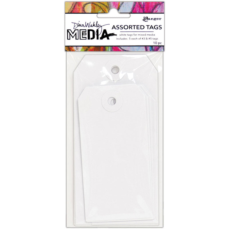 Dina Wakley Media White Assorted Tags - Size #3 and #5