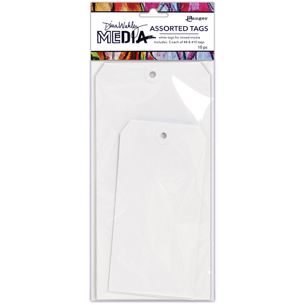 Dina Wakley Media White Assorted Tags - Size #8 and #10