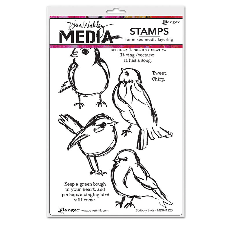 Dina Wakley Media Stamps - Scribbly Birds - MDR41320