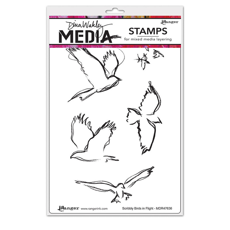 Dina Wakley Media Stamps - Scribbly Birds in Flight - MDR47636