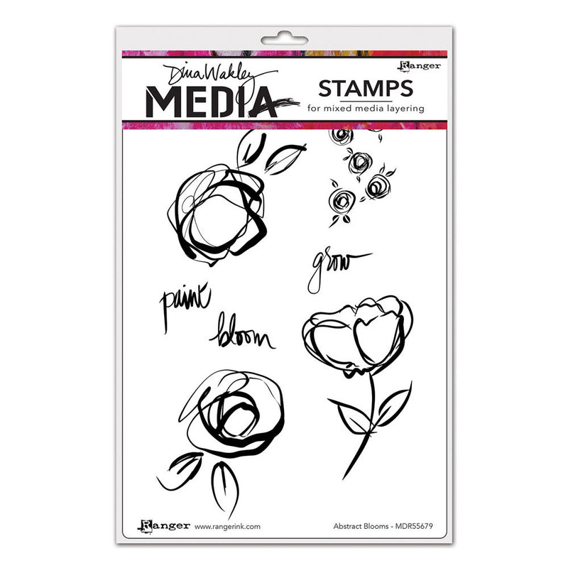 Dina Wakley Media Stamp Set - Abstract Blooms