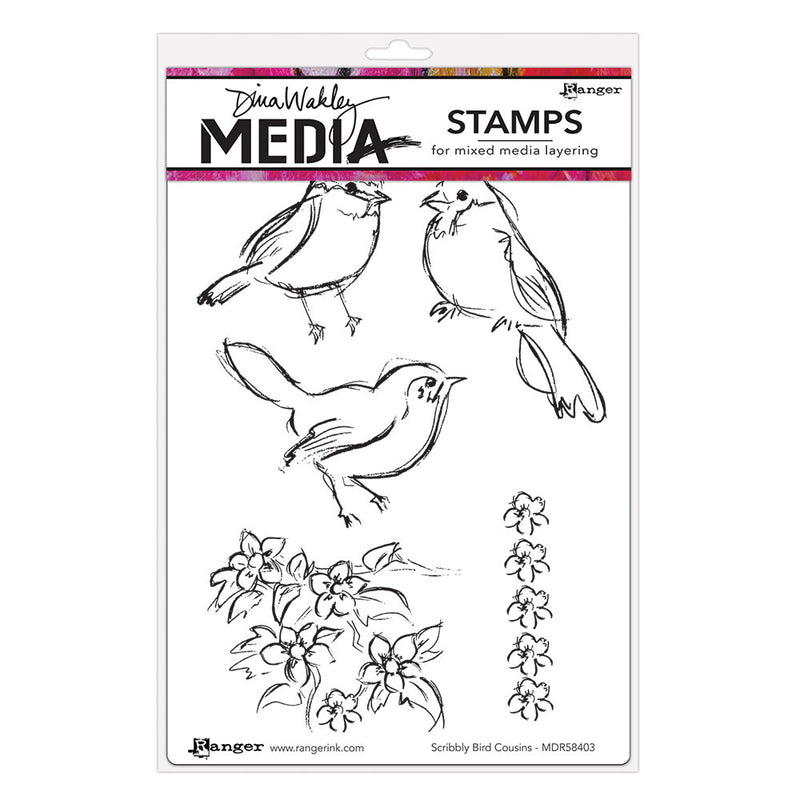 Dina Wakley Media Stamps - Scribbly Bird Cousins - MDR58403