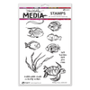 Dina Wakley Media Stamps - Scribbly Fishes - MDR61007