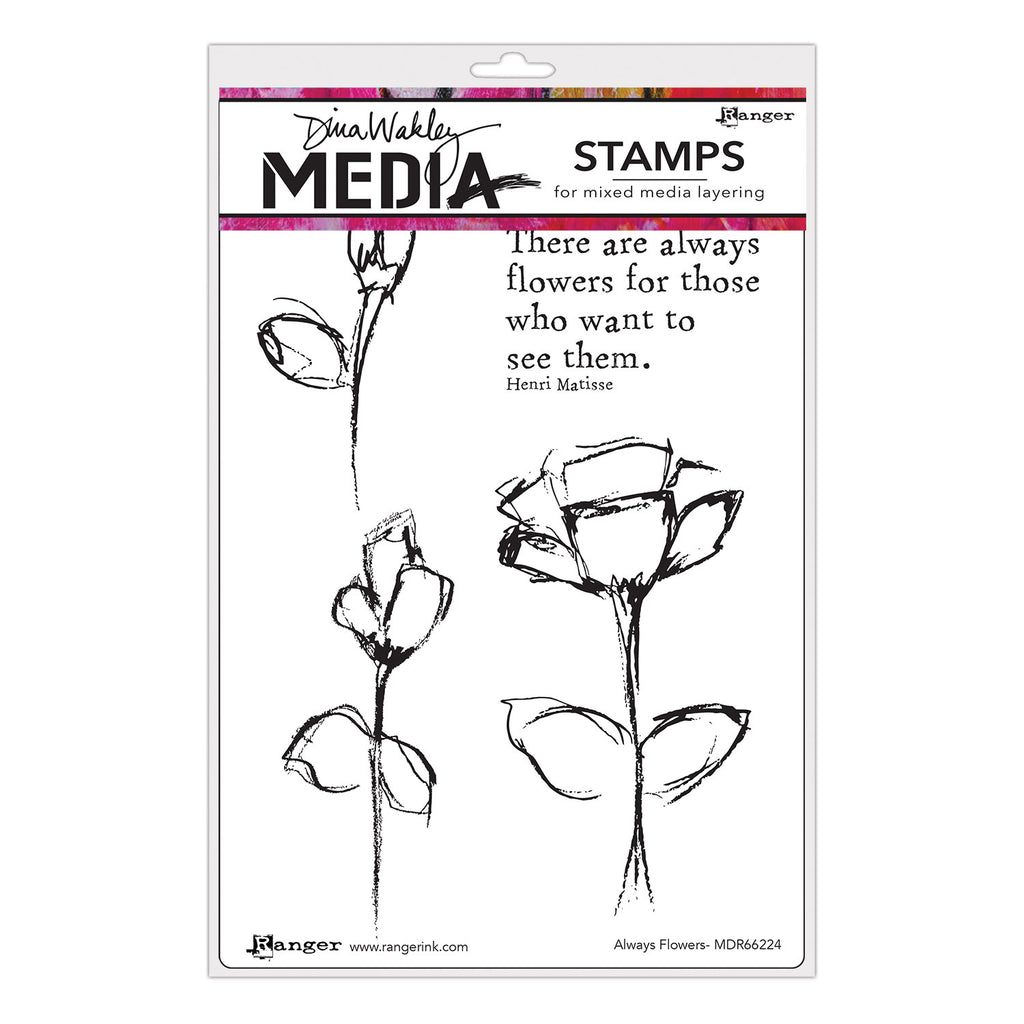 Always Flowers - Dina Wakley Media Stamps - MDR66224