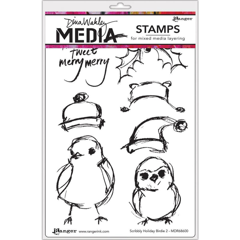 Dina Wakley Media Stamp Set - Scribbly Holiday Birdie 2