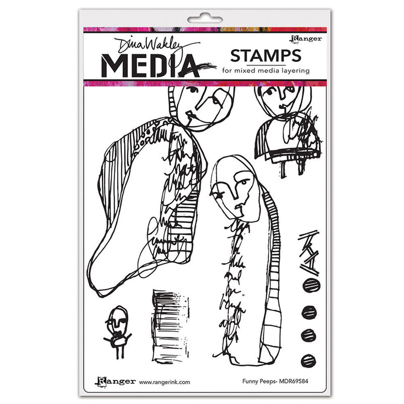 Dina Wakley Media Stamp Set - Funny Peeps